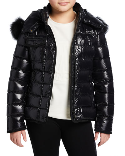 Armoise Quilted Puffer Jacket w/ Fur-Trim Hood, Size 4-6