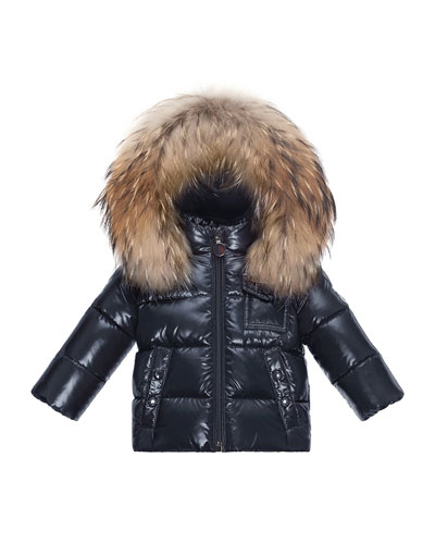 Fur-Trimmed Hooded Quilted Puffer Jacket, Size 12M-3