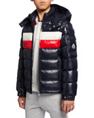 Moncler Boy's Dell Quilted Logo-Strip Puffer Jacket, Size