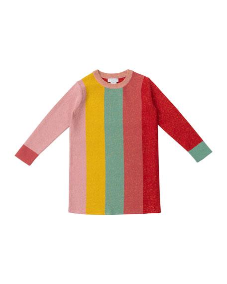Stella McCartney Kids Long-Sleeve Glittery Striped Sweater Dress, Size 4-14