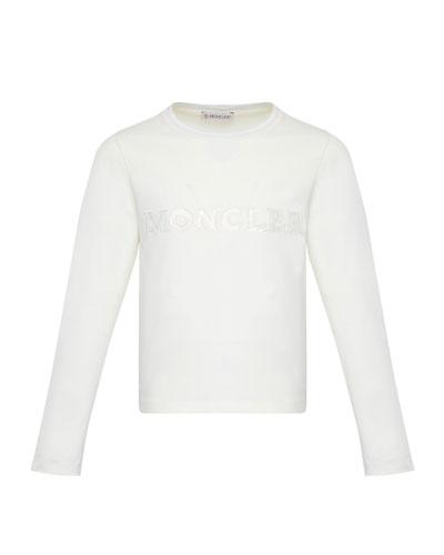 Girl's Long-Sleeve Block Logo T-Shirt, Size 8-14