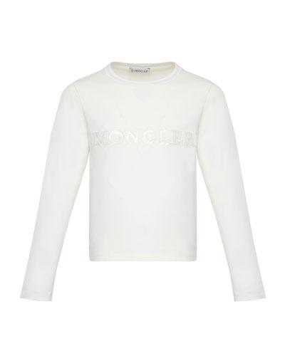 Girl's Long-Sleeve Block Logo T-Shirt, Size 4-6