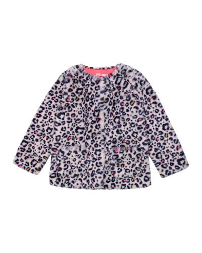 Girl's Leopard-Print Faux-Fur Jacket, Size 4-12