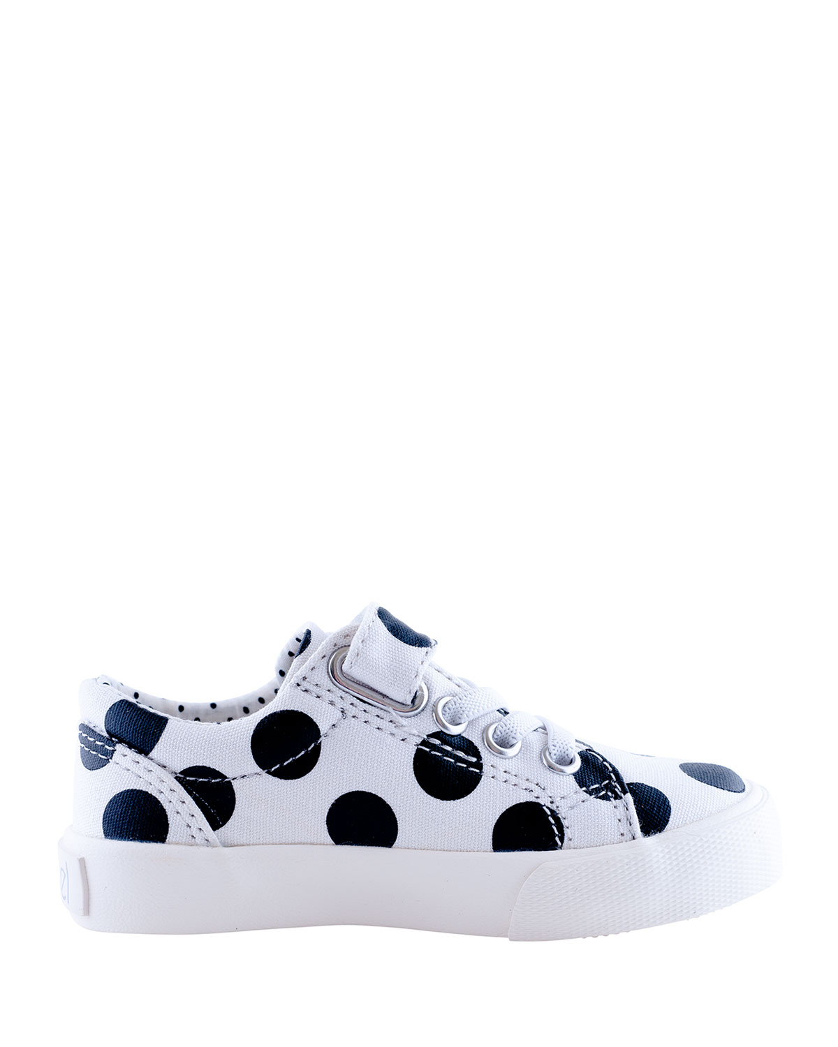 Grace Laminated Polka-Dotted Grip Strap Sneakers