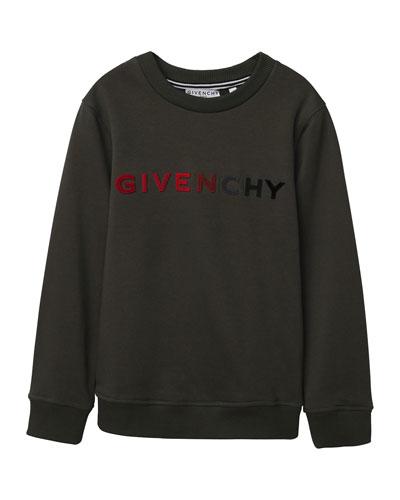 Boy's Gradient Logo Embroidery Sweatshirt, Size 12-14