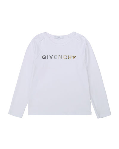 Girl's Foil Gradient Logo Long-Sleeve T-Shirt, Size 12-14