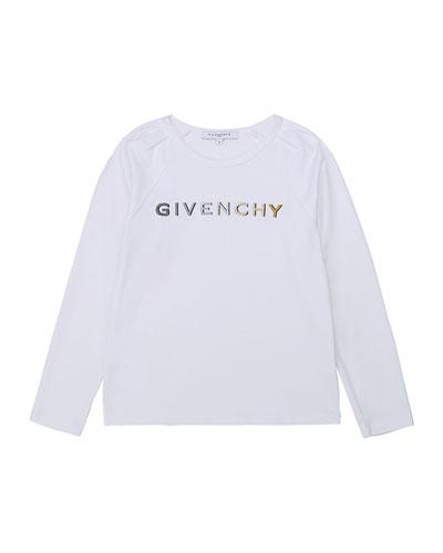 Girl's Foil Gradient Logo Long-Sleeve T-Shirt, Size 4-10