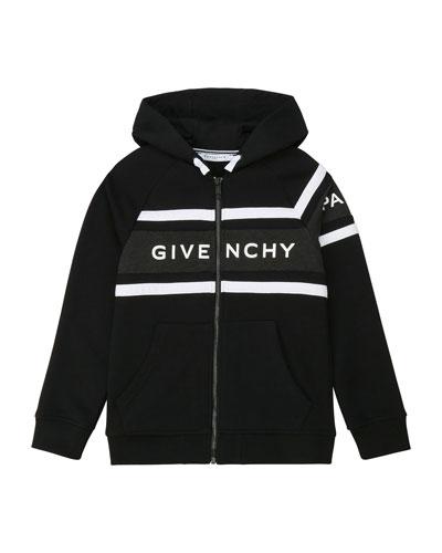 Boy's Hooded Zip-Up Logo Sweatshirt, Size 12-14