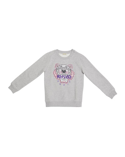 Girl's Classic Logo T-Shirt w/ Tiger Icon, Size 8-12