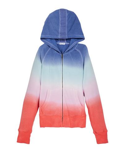 Girl's Multi Dip Dye Zip-Front Hoodie, Size 7-14