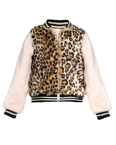Girl's Faux Fur Leopard-Print Bomber Jacket, Size 7-14