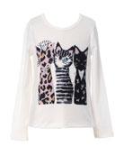 Hannah Banana Girl's 3 Cats Long-Sleeve Graphic T-Shirt,