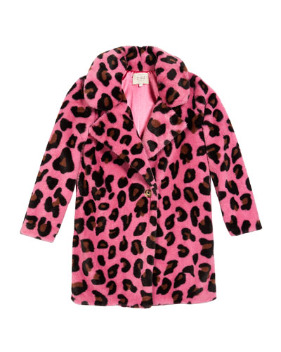 Long Animal-Print Faux-Fur Coat, Size 7-14
