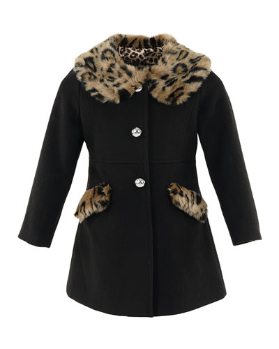 Girl's Little Lady Faux-Fur Leopard-Print Trim Coat, Size XXS-L