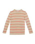 Brunello Cucinelli Kid's Striped Wool-Cashmere Long-Sleeve Top,