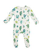 Angel Dear Kid's Cactus Ivory Zipper Footie Playsuit,