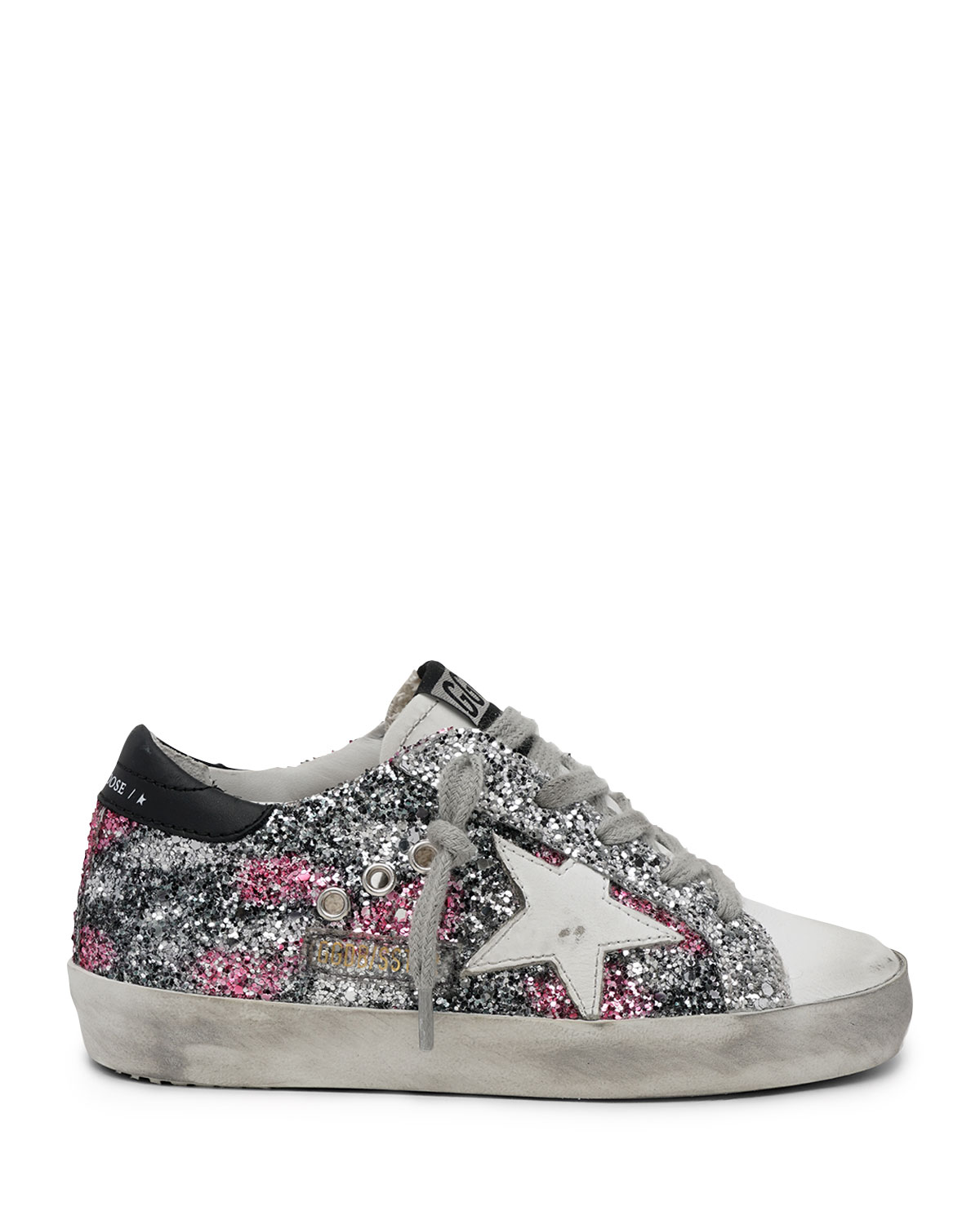 Golden Goose GIRL'S SUPERSTAR GLITTER & LEATHER LOW-TOP SNEAKERS, TODDLERS