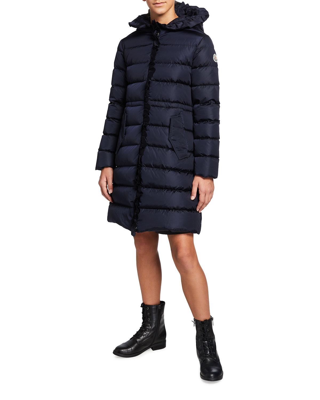 Moncler GIRL'S VENNAL TECHNIQUE LONG RUFFLED COAT