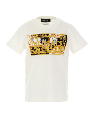 Kids' Short-Sleeve T-Shirt With Baroque Logo, Size 8-14