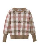 Brunello Cucinelli Girl's Paillette Check Wool-Cashmere Sweater,