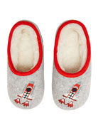Joules Boy's Embroidered Rocket Ship Slippers, Size S-L