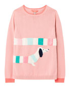 Joules Girl's GeeGee Dachshund Dog Sweater, Size 4-12