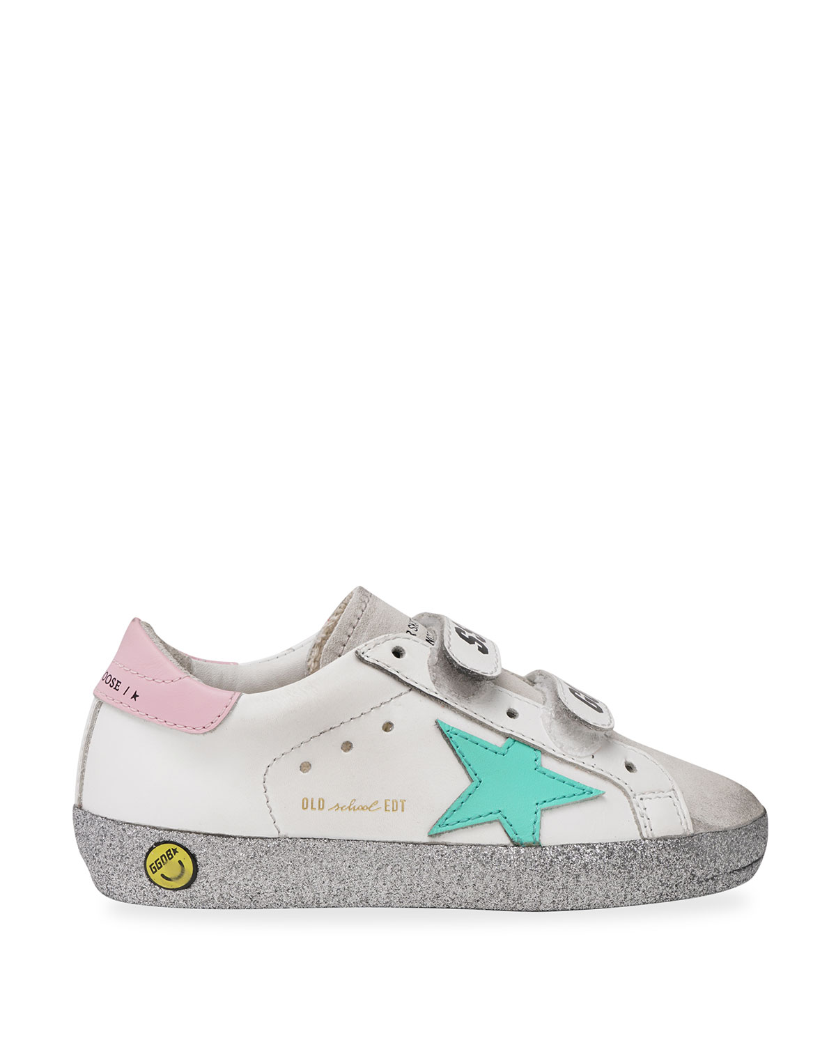 Golden Goose OLD SCHOOL LEATHER GRIP-STRAP GLITTER-SOLE SNEAKERS, BABY/TODDLERS