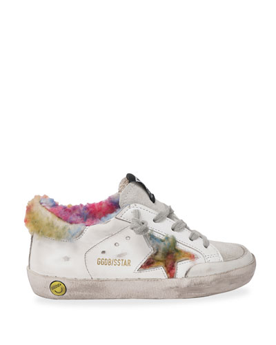 Superstar Leather Sneakers w/ Rainbow Shearling Trim, Baby/Toddlers