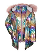 Appaman Girl's Middie Puffer Coat w/ Removable Faux-Fur