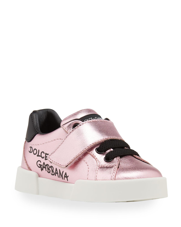 Dolce & Gabbana METALLIC LOGO GRIP-STRAP LEATHER SNEAKERS, BABY/TODDLER