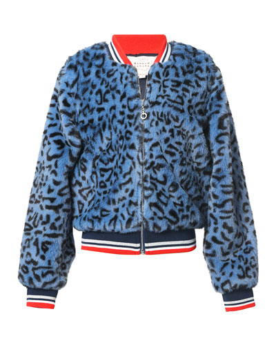 Girl's Leopard-Print Faux Fur Bomber Jacket, Size 2-14