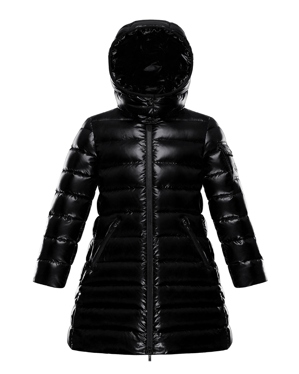 Moncler GIRL'S MOKA LONG QUILTED HOODED PARKA
