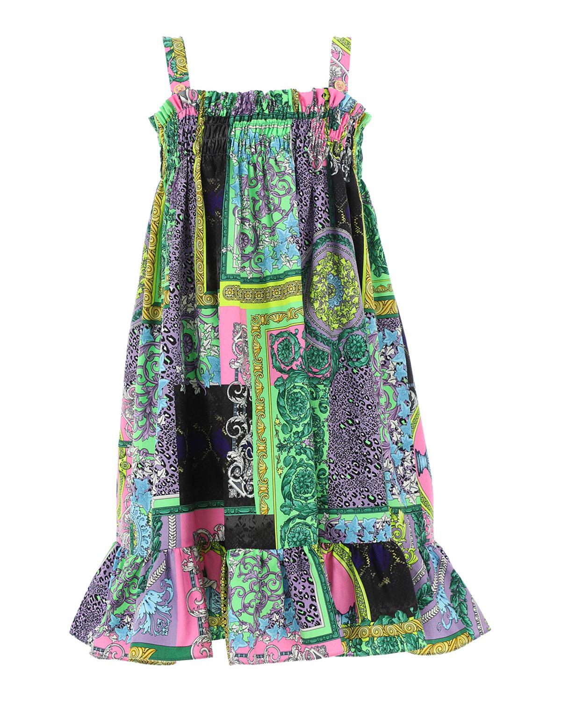 Versace GIRL'S BAROQUE-PRINT PATCHWORK SMOCKED DRESS