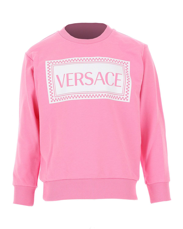 Versace GIRL'S LOGO LONG-SLEEVE JERSEY SWEATER