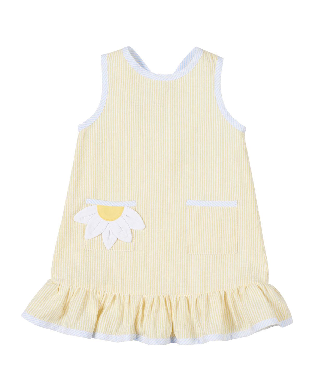 Florence Eiseman Dresses GIRL'S STRIPED SUNFLOWER CUTOUT RUFFLE DRESS