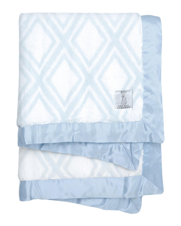 Luxe Diamond Printed Plush Baby Blanket