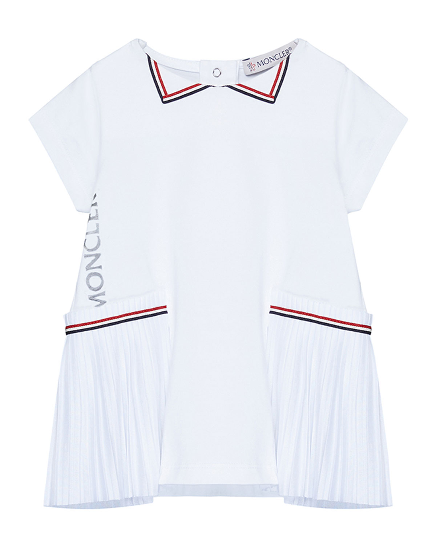 Moncler GIRL'S PLEATED STRIPED LOGO DRESS
