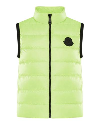 Girl's Artema Contrast Logo Quilted Vest, Size 4-6