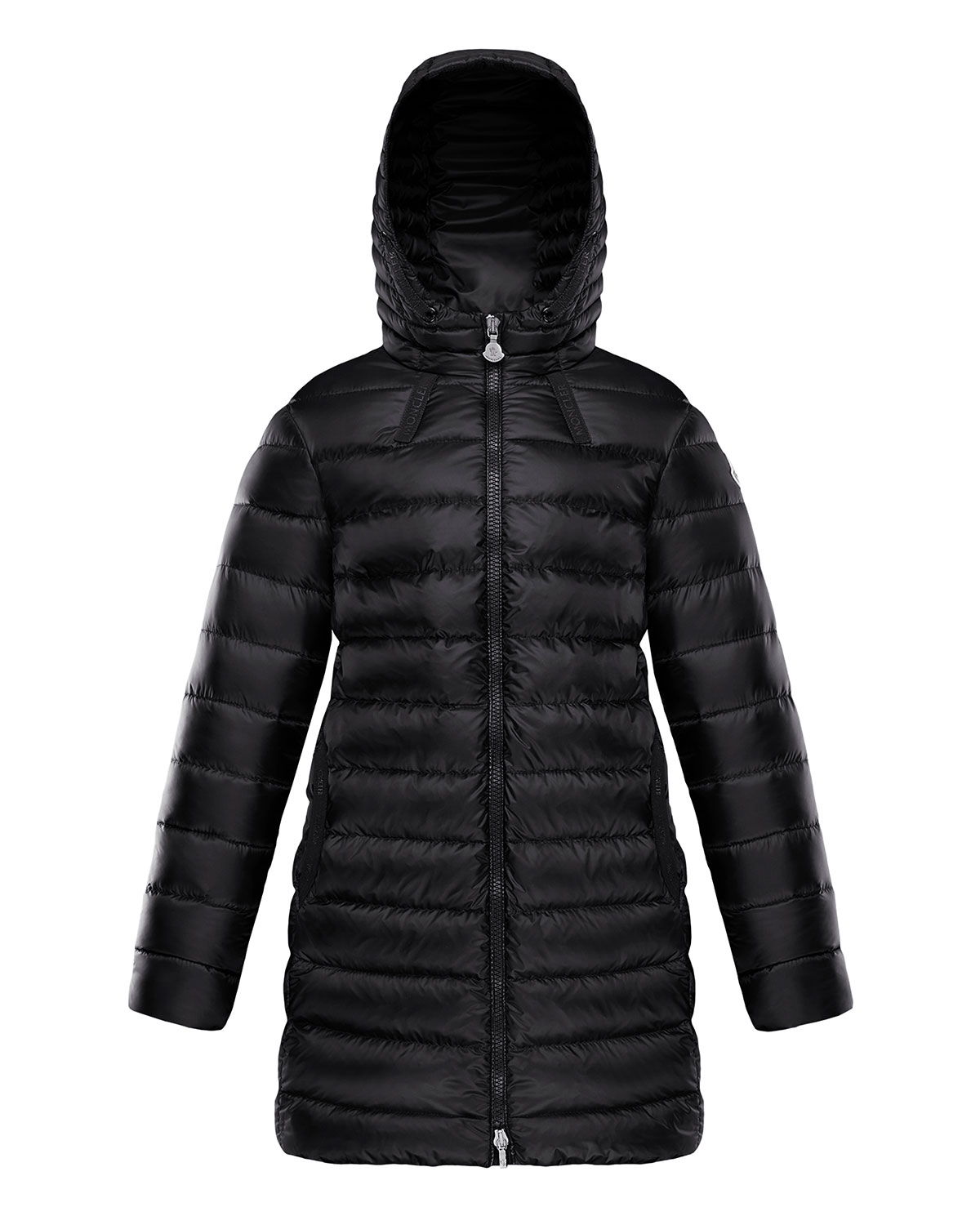 Moncler GIRL'S JACINTE HOODED LONG QUILTED PARKA