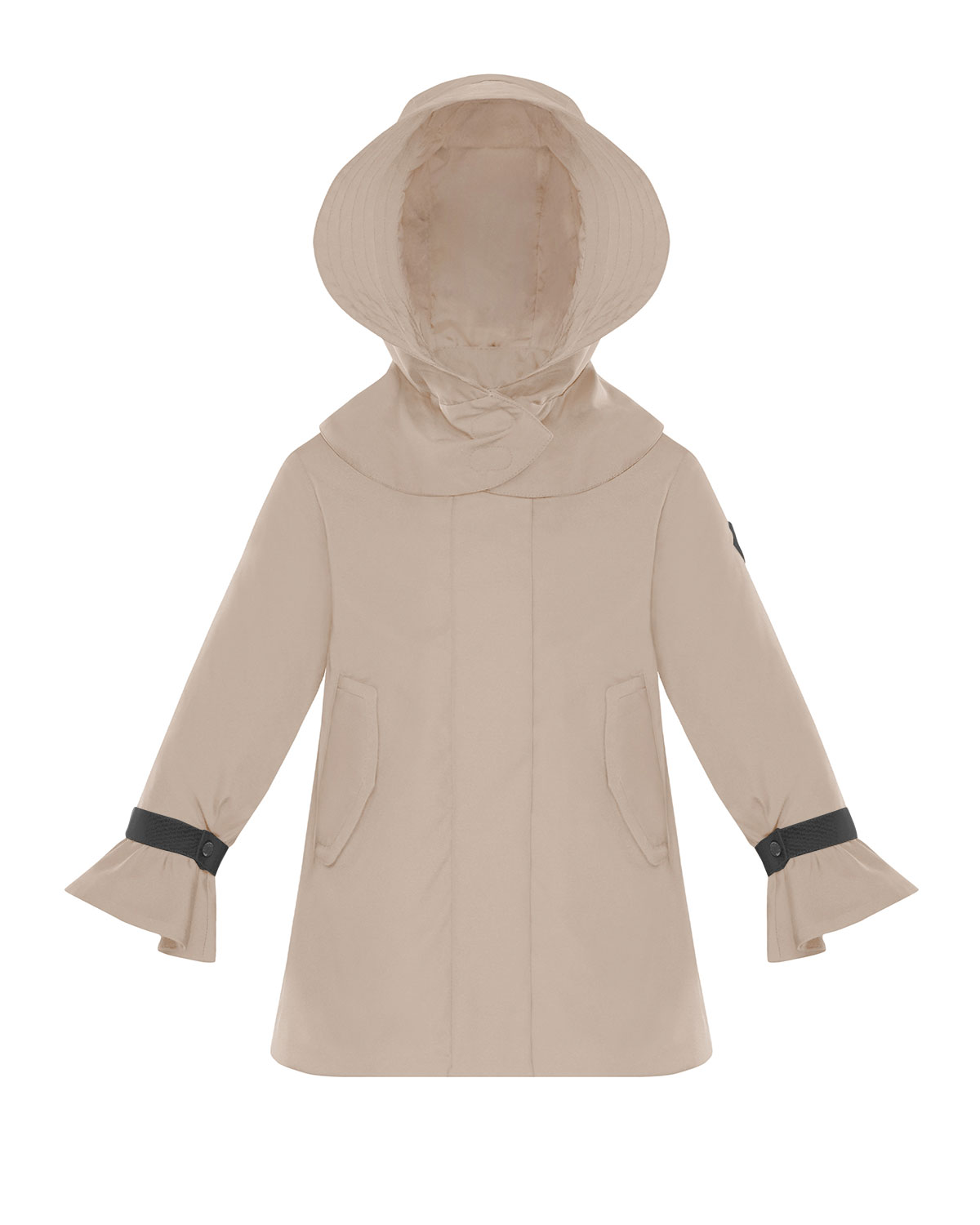 Moncler GIRL'S ATHELAS PLEATED TRENCH COAT W/ DETACHABLE HOOD