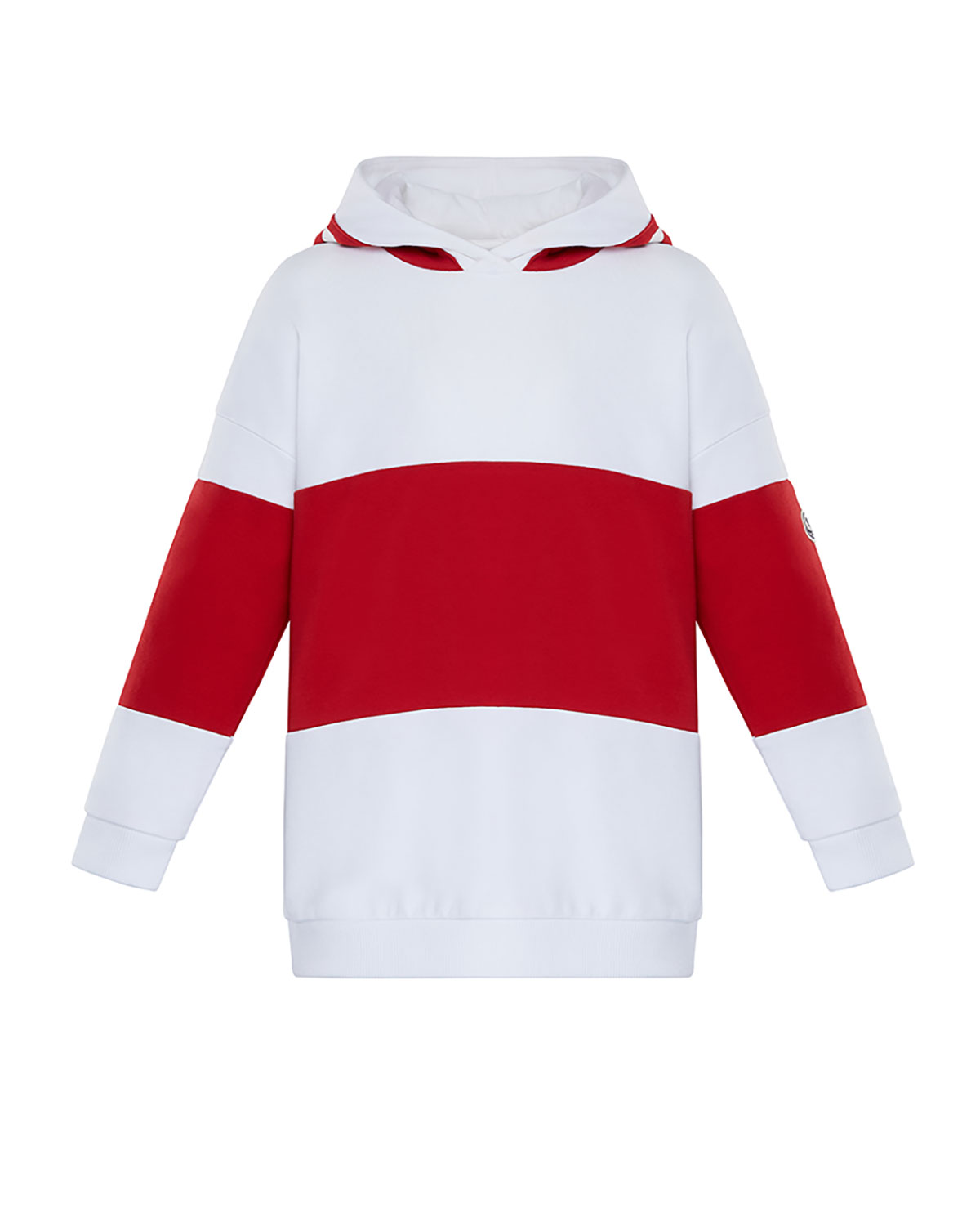 Moncler GIRL'S CONTRAST LOGO PRINTED PULLOVER HOODIE