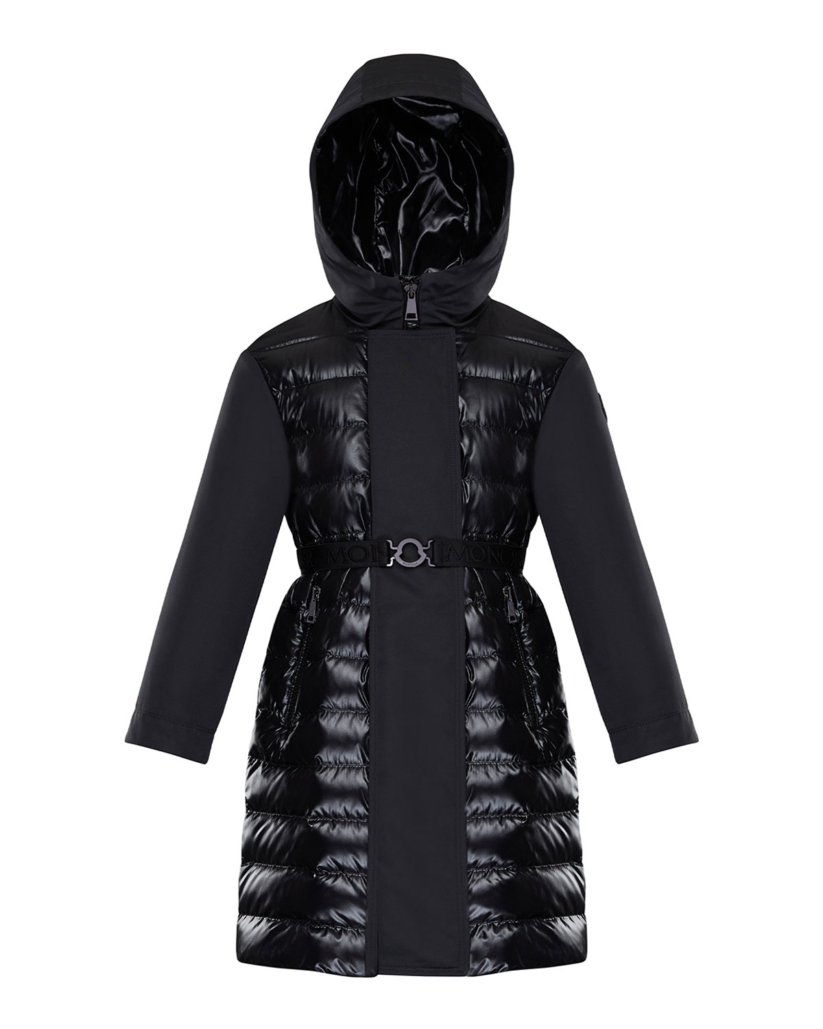 Moncler GIRL'S XENIE COMBO QUILTED JACKET W/ BELT