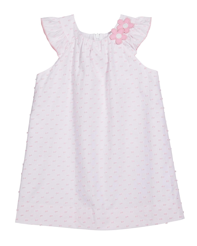 Florence Eiseman GIRL'S FLORAL SLEEVELESS RUFFLE A-LINE DRESS