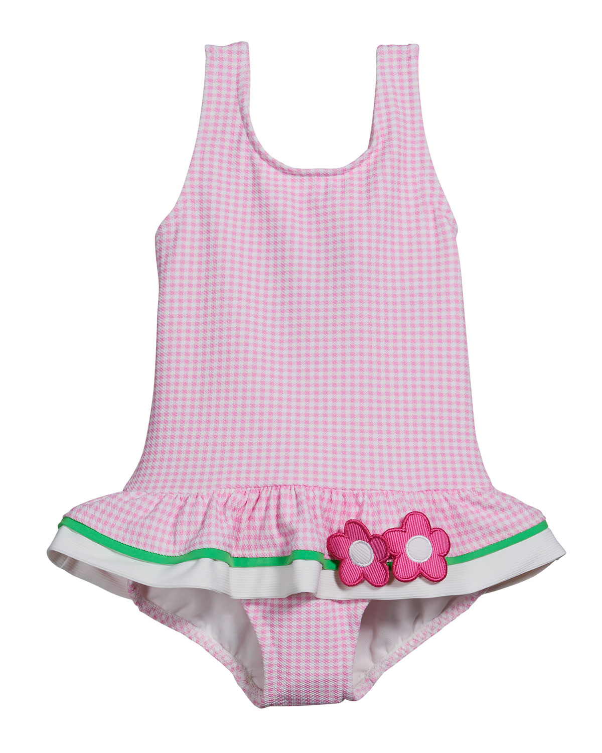 Girl's Gingham Floral One-Piece Swimsuit, Size 6-24M