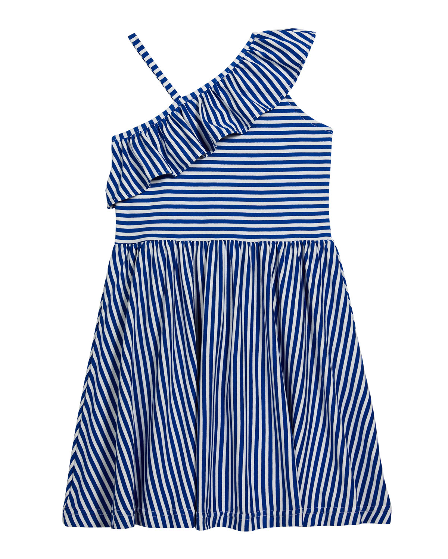 Florence Eiseman GIRL'S STRIPED RUFFLE ONE-SHOULDER DRESS