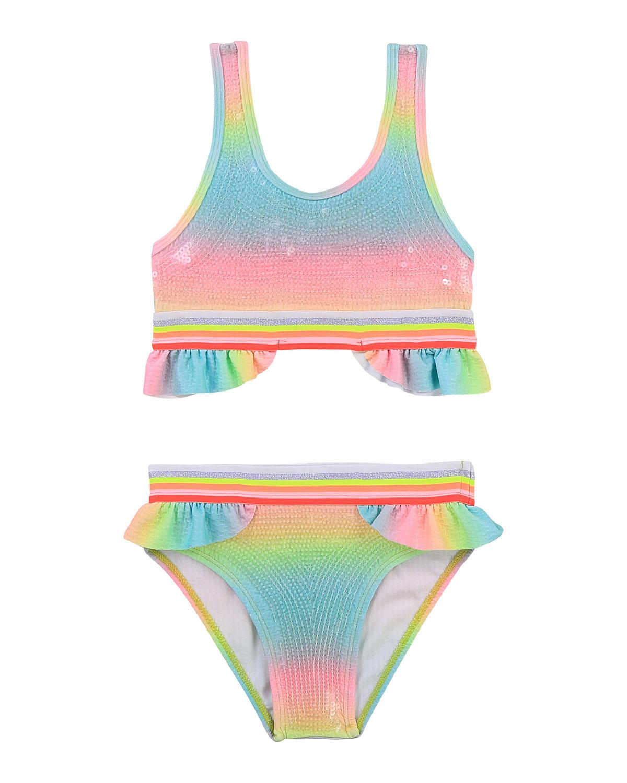 Billieblush Bikinis GIRL'S RAINBOW SEQUIN RUFFLE 2-PIECE BIKINI SET