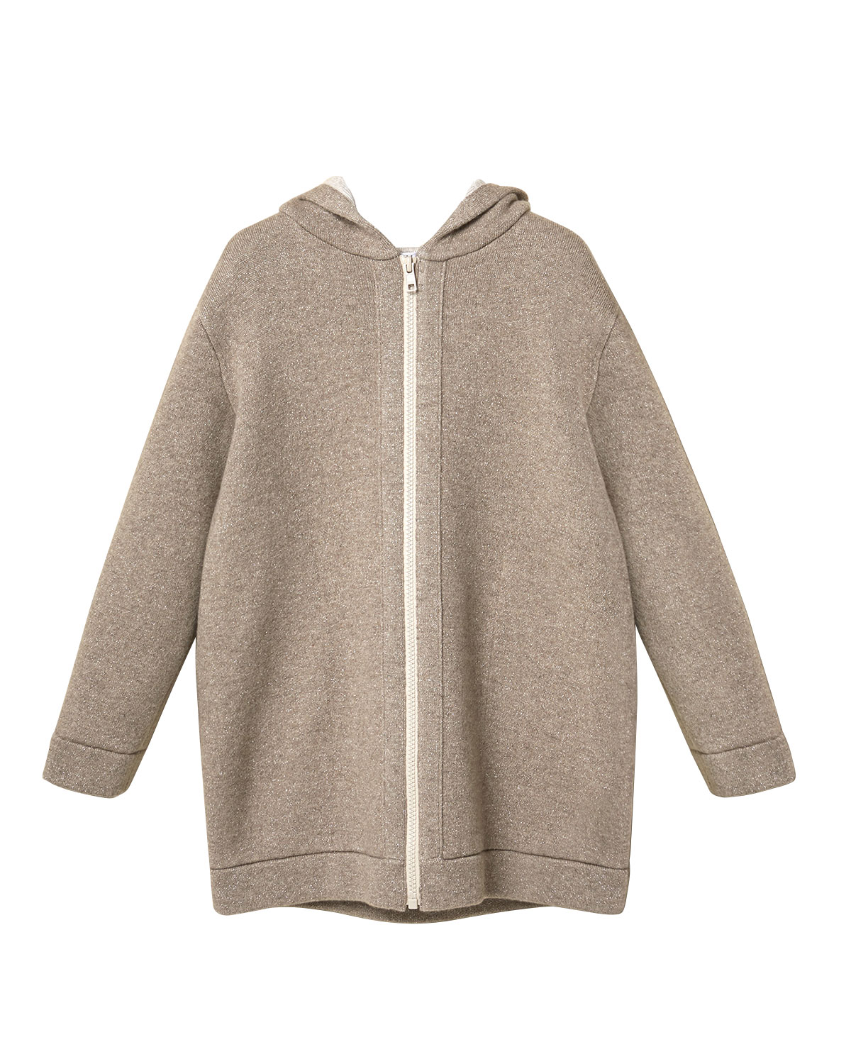 Brunello Cucinelli GIRL'S METALLIC DOUBLE-FACE CASHMERE HOODED ZIP-FRONT JACKET