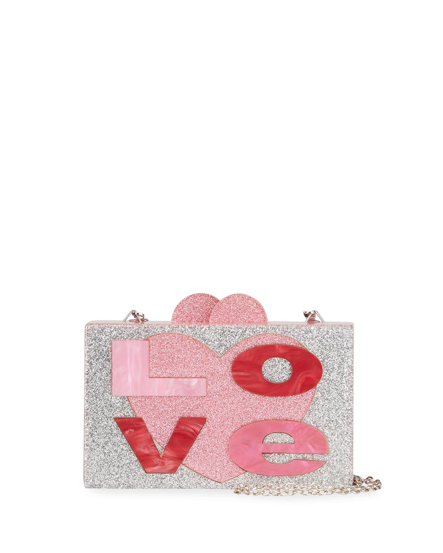Girl's Love Glittered Box Clutch Bag