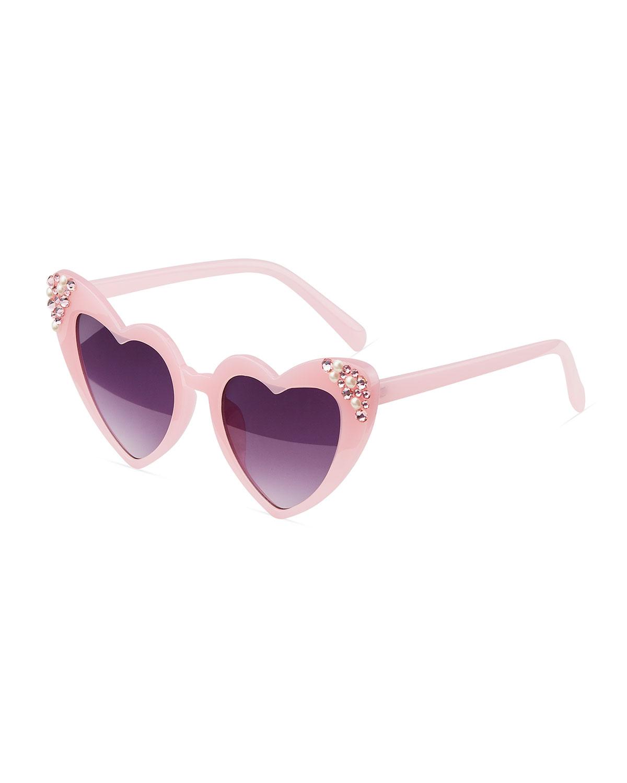 Girl's Beaded Crystal Embellished Heart Sunglasses