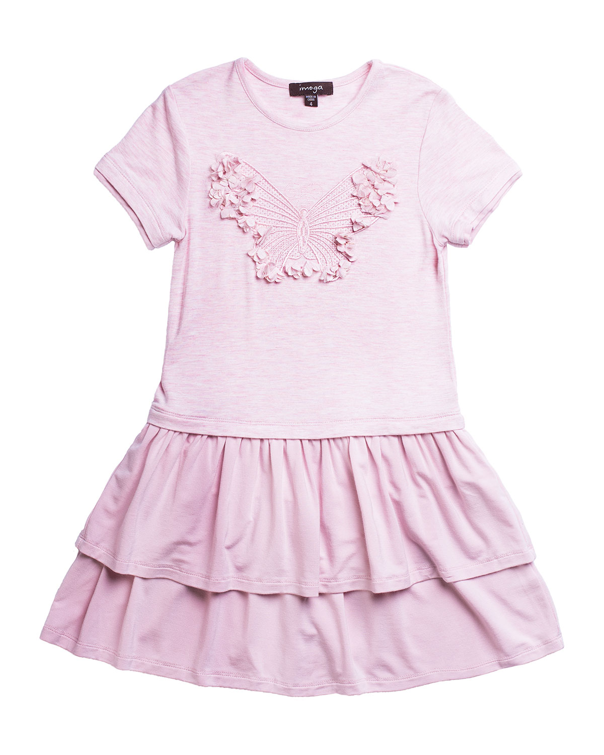 Imoga GIRL'S TIERED BUTTERFLY FIT-AND-FLARE DRESS